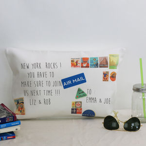 Personalised Vintage Travel Postcard Cushion - new in home
