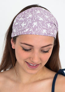 Headbands In Pink Swallow Print