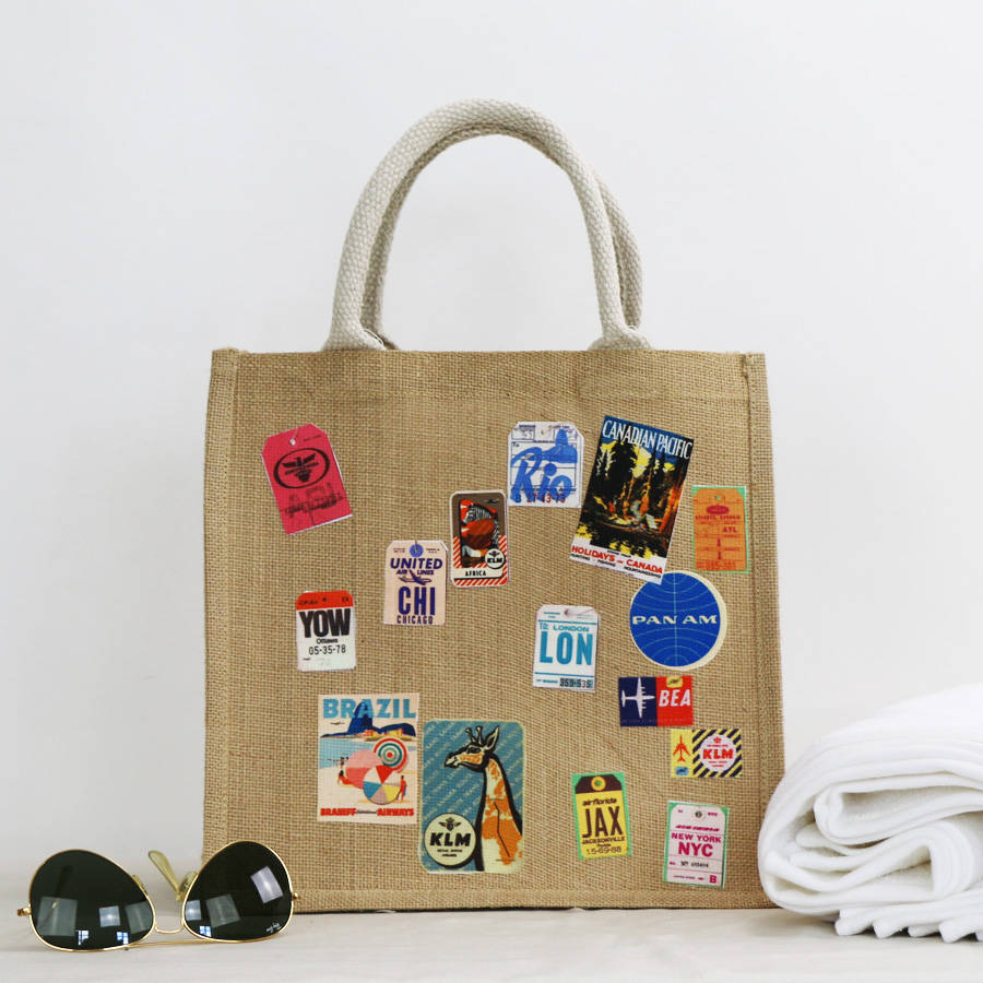 personalisable bag with travel stickers by minna's room ...