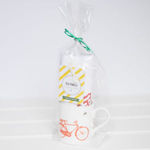 Old Irish Bicycle Tea Towel And Mug Gift Set