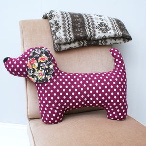 Purple Dachshund Cushion - bedroom