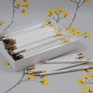 Large Pack Personalised White Pencils - save the date cards