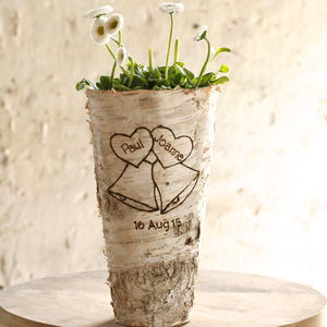 Personalised 'Wedding Bells' Birch Wood Vase - 5th anniversary: wood