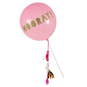 Hooray Sparkle And Tassel Pink Balloon Wand - room decorations