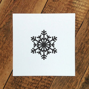 Christmas Card; Scandi Black Snowflake