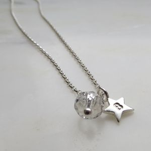 Silver Star And Birthstone Necklace