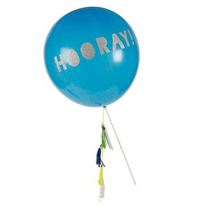 Hooray Sparkle And Tassel Blue Balloon Wand - room decorations