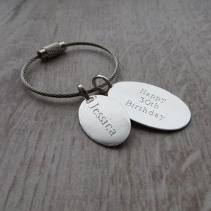 Personalised Silver Tag Key Ring - keyrings