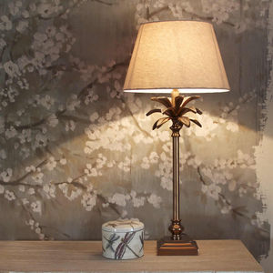 Copper Coloured Palm Tree Table Lamp Base - lighting