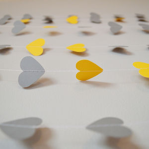 Yellow And Grey Hearts Paper Garland