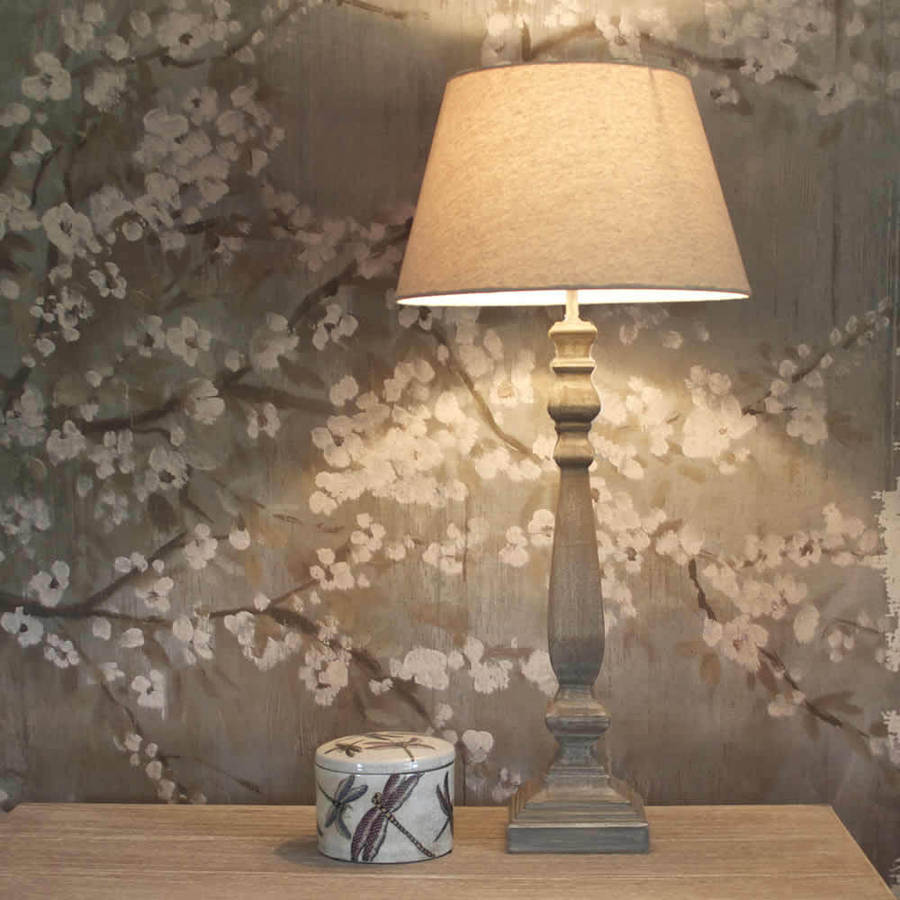 tall slim grey wash wooden table lamp with shade by cowshed interiors noton. Black Bedroom Furniture Sets. Home Design Ideas