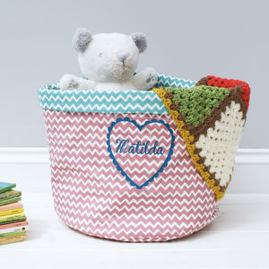 Personalised Heart Storage Basket - valentines gifts for children