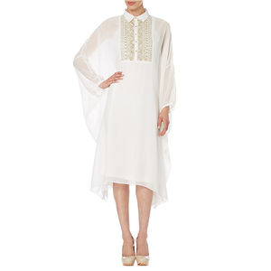 Ivory Georgette Kaftan Dress With Collar - women's fashion