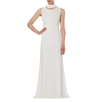 Ivory Peplum Evening Gown