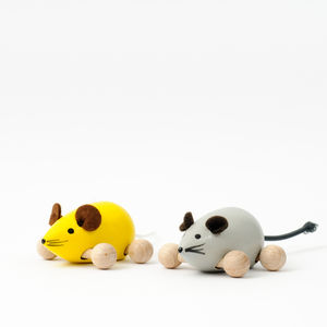 Handmade Wooden Pair Of Mice