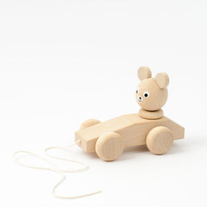 Wooden Pull Along Bear - traditional toys & games