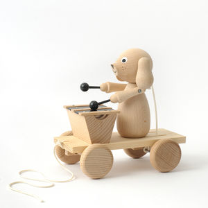 Handmade Wooden Dog With Xylophone