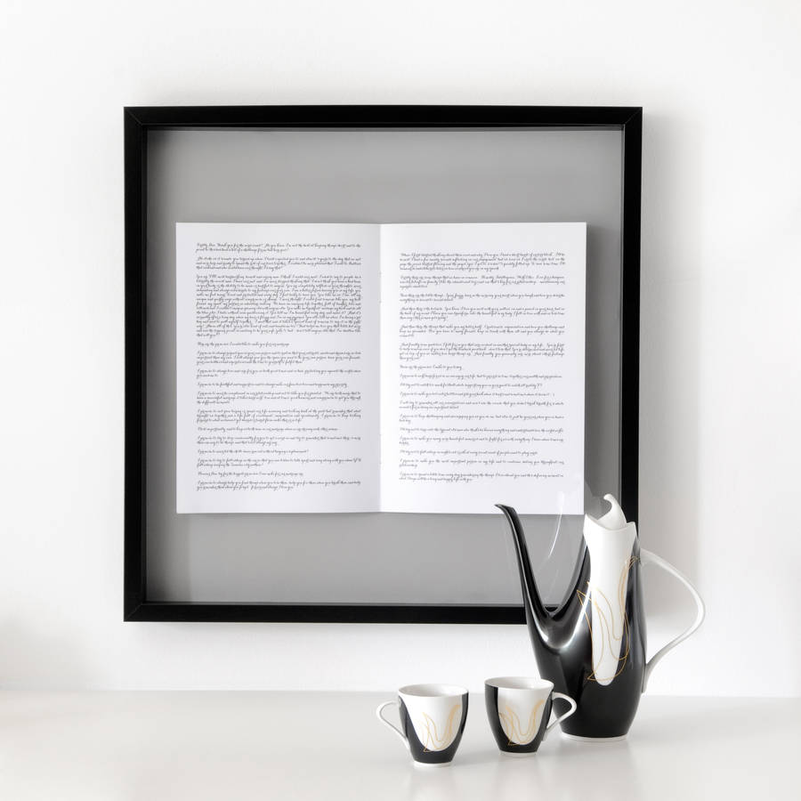 wedding vows personalised framed book by sarah bendrix
