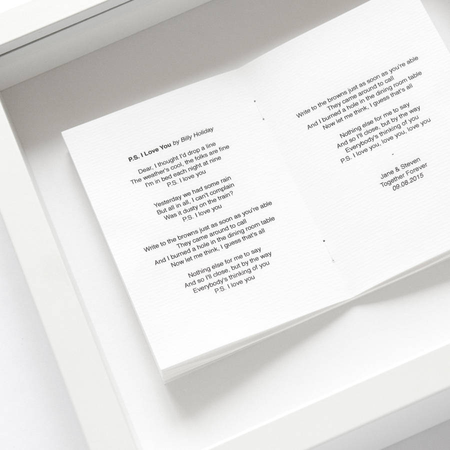 favourite song personalised framed book by sarah & bendrix ...