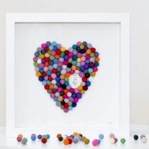 Personalised Heart Framed Artwork - mixed media & collage