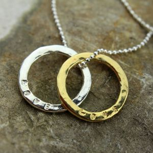 Gold Sentiment Hammered 'Love' Necklace