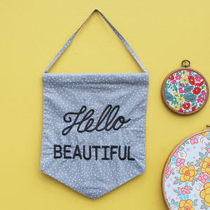 'Hello Beautiful' Flag - home accessories