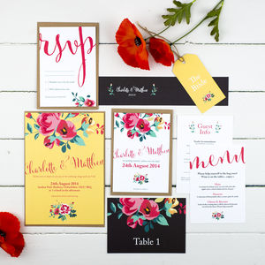 Floral Country Garden Wedding Invitation - place cards