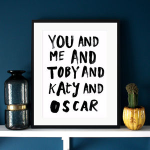 'You And Me And…' Family Typographic Print