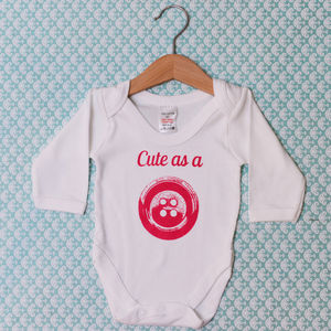 'Cute As A Button' Baby Grow - babygrows