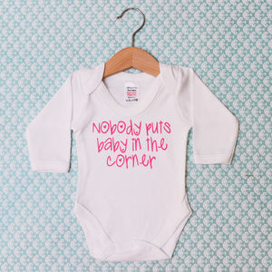 'Nobody Puts Baby In The Corner' Baby Grow - clothing