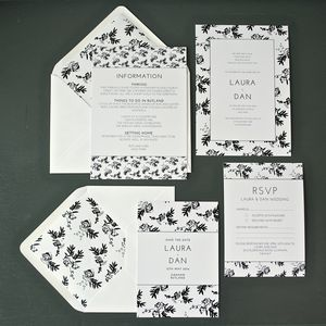 Flower Shadows Wedding Invitation Set