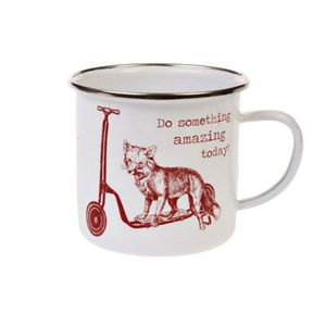 Fox 'Do Something Amazing Today' Enamel Mug