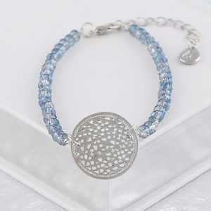 Silver Coin And Blue Crystal Bead Bracelet