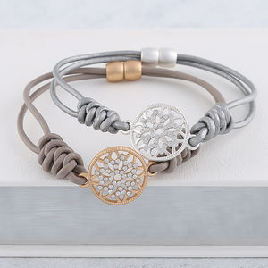 Crystal Charm Leather Bracelet - whatsnew