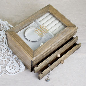 Monogrammed Wooden Jewellery Box - jewellery storage & trinket boxes