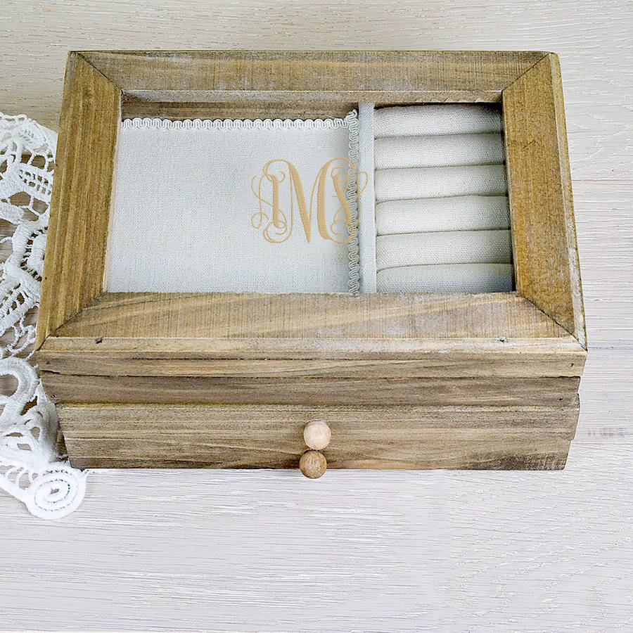 Monogrammed Wooden Jewellery Box By Letteroom
