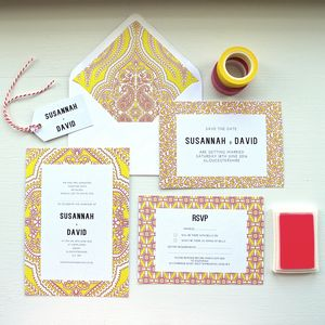 Yellow Mandala Wedding Invitation Set