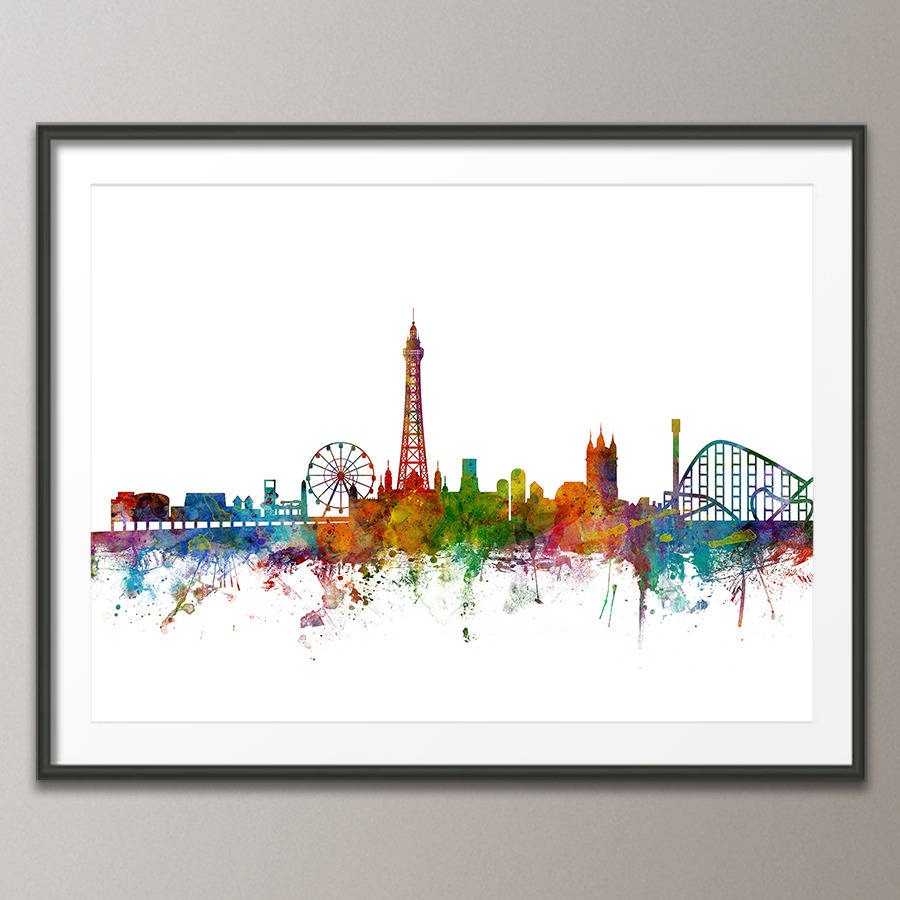 Blackpool skyline cityscape art print by artpause art print poster frame not included white background jeuxipadfo Choice Image