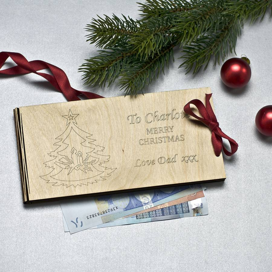 Personalised Wooden Money Envelope For Christmas