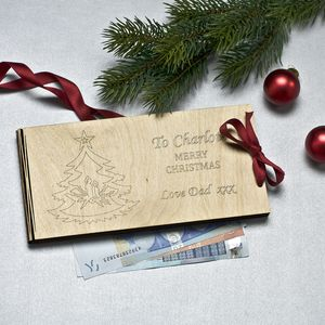 Personalised Wooden Money Envelope For Christmas - cards & wrap