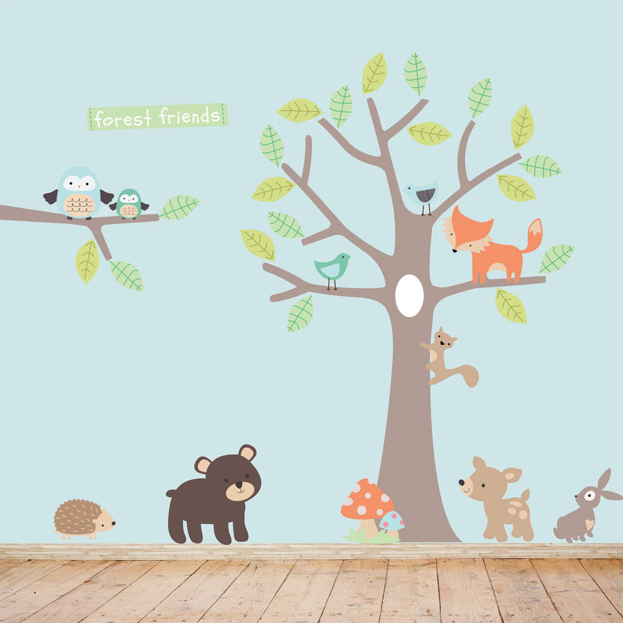 pastel forest friends fabric wall stickers p wall decal. Black Bedroom Furniture Sets. Home Design Ideas