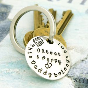 Personalised Sterling Silver Parent's Keyring
