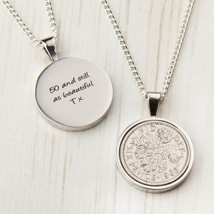 Sixpence 50th 1965 Birthday Coin Necklace