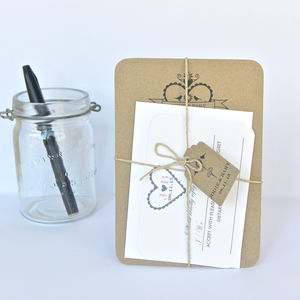 Recycled Hearty Wedding Stationery Bundle - invitations