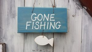 Gone Fishing Sign - art & decorations