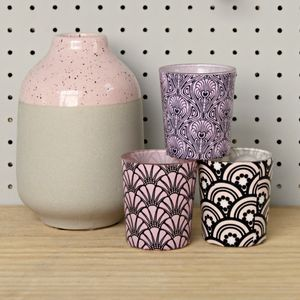 Set Of Three Art Deco Pattern Pink Votives