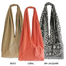 Long Jogi Bag in Beige, Coral and BW Jacquard