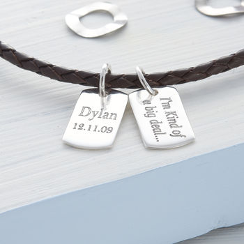 Personalised Silver And Leather Double Mini Tag Necklet