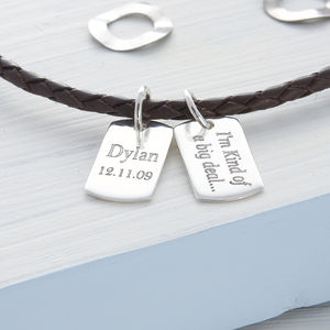 Personalised Silver And Leather Double Mini Tag Necklet - personalised