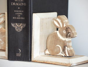 Carved Bunny Bookends